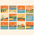 Nature landscape icons set of symbols vector