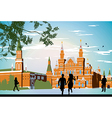 Boy and girl running in the red square hand in vector