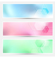 Modern bright hexagon cards collection vector
