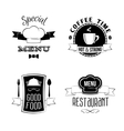 Restaurant menu emblems set vector