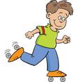 Cartoon roller skate boy vector