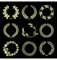 Golden wreaths isolated on black background vector