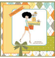 Birthday card - pretty young lady with arms full vector