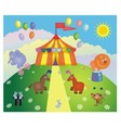 Circus tent and animals vector
