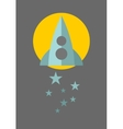 Spaceship on the moon background with blue stars vector