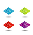 Puzzle in different colors- logo vector