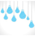 Blue sketch bulb background vector