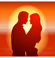 Sea sunset with silhouette couple vector