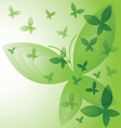 Background with green butterflies vector