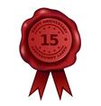Happy fifteen year anniversary wax seal vector
