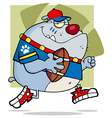 Grey bulldog football player running vector