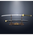 Realistic samurai sword and scabbard on the stand vector