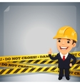 Businessman with danger tapes vector