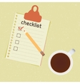 Checklist and cup of coffee vector