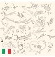 Healthy food sketches for menu design vector