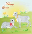 Easter lamb and sheep and daffodil vector