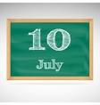 July 10 day calendar school board date vector