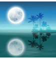 Sea with island with palm trees and full moon vector
