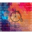 Retro bicycle on colorful geometric background vector