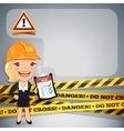 Businesswoman with danger tapes vector