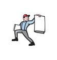 Newsboy selling newspaper isolated full cartoon vector
