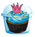 A cupcake with a crown inside the sealed container vector