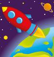 Rocket flies into space vector