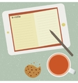 E-note and cup of tea vector