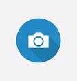 Camera flat blue simple icon with long shadow vector