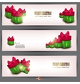 Set of three banners with beautiful gifts vector