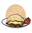 Beef steak and pasta vector
