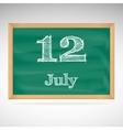 July 12 day calendar school board date vector