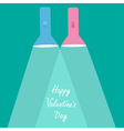 Pink flashlights with rays of light valentines day vector