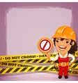 Female builder with danger tapes vector