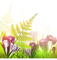 Spring meadow with crocus flowers vector