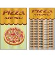 Pizza menu restaurant vector