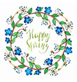 Watercolor cute wreath with blue romantic flowers vector