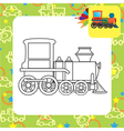 Outlined cartoon locomotive toy for coloring vector