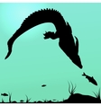 Hunting young crocodile vector