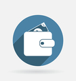 Purse sign circle blue icon with shadow vector