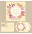 Wedding set with floral frame vector