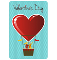 Couple in hot air balloon valentines day greeting vector