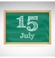 July 15 day calendar school board date vector