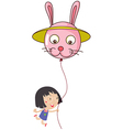 A cute little girl holding a bunny balloon vector