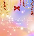New year greeting card christmas bow and ribbon vector