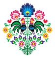 Polish folk embroidery with roosters pattern vector