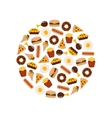 Food flat icons in circle vector