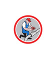 Plumber pipe worker turning on flow circle cartoon vector