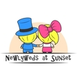Newlyweds at sunset vector