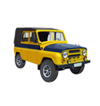 Soviet police car uaz yellow blue vector